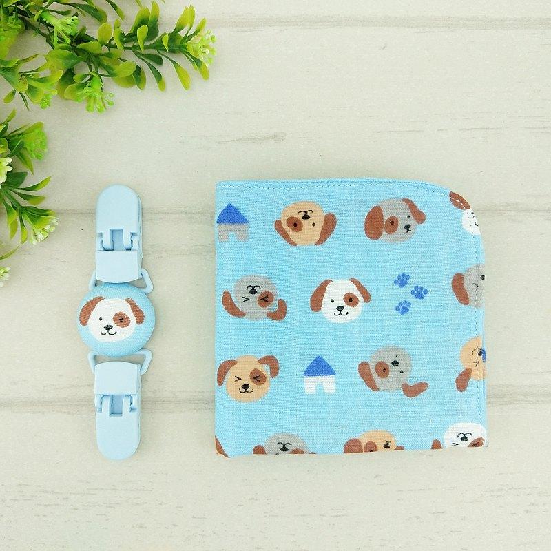 淘氣狗狗。雙面日本四層紗布手帕 / 手帕夾  (可繡名字)