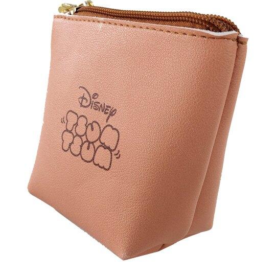 小禮堂 迪士尼 TsumTsum 蒂蒂 船形皮質零錢包 吊飾零錢包 小物收納包 (淺棕 大臉)