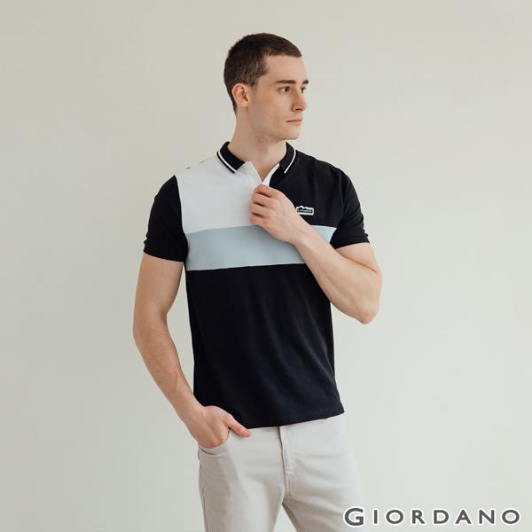 GIORDANO 男裝冰山刺繡彈性POLO衫-05 標誌黑