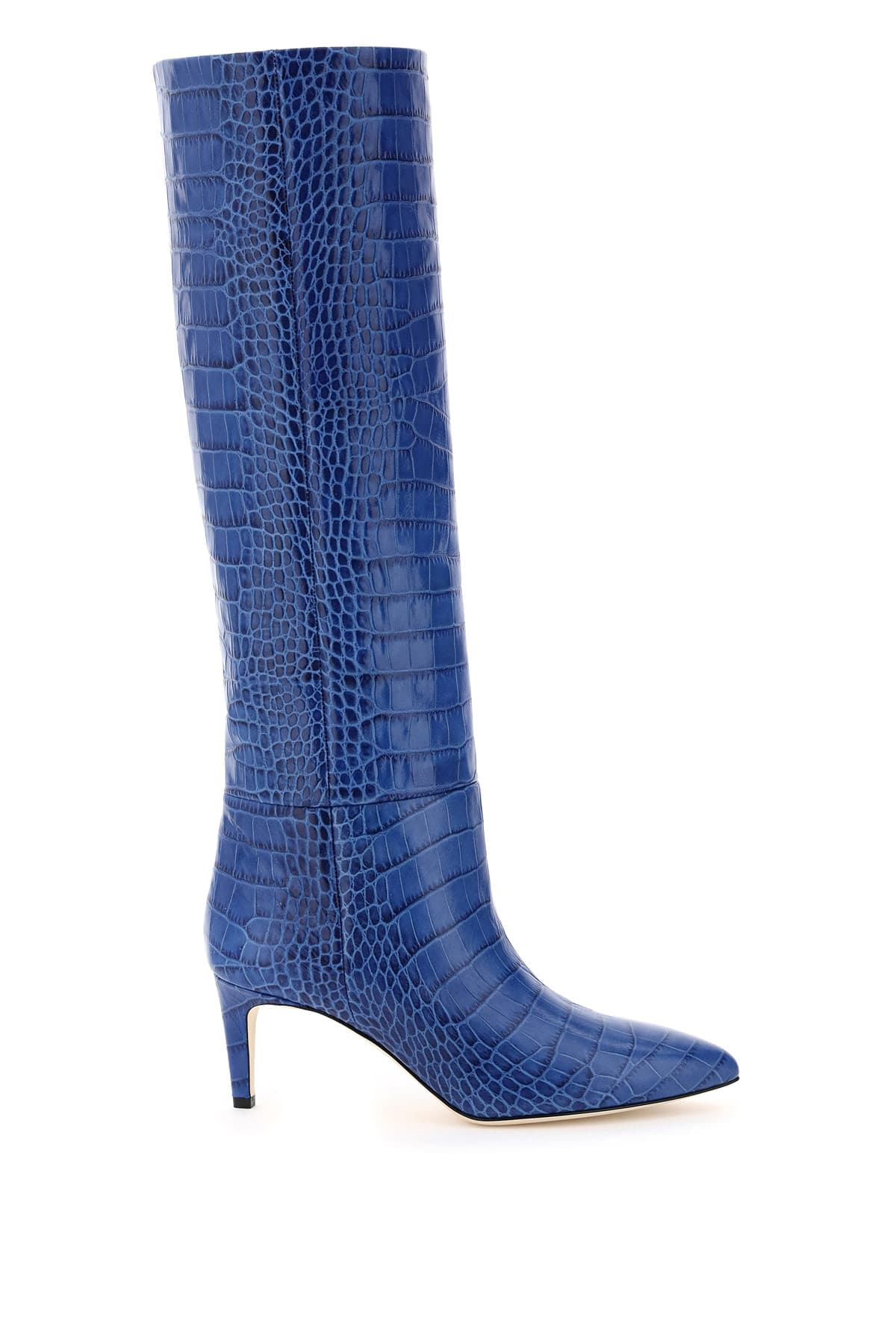 PARIS TEXAS CROCODILE-EMBOSSED BOOTS 38 Blue, Light blue Leather