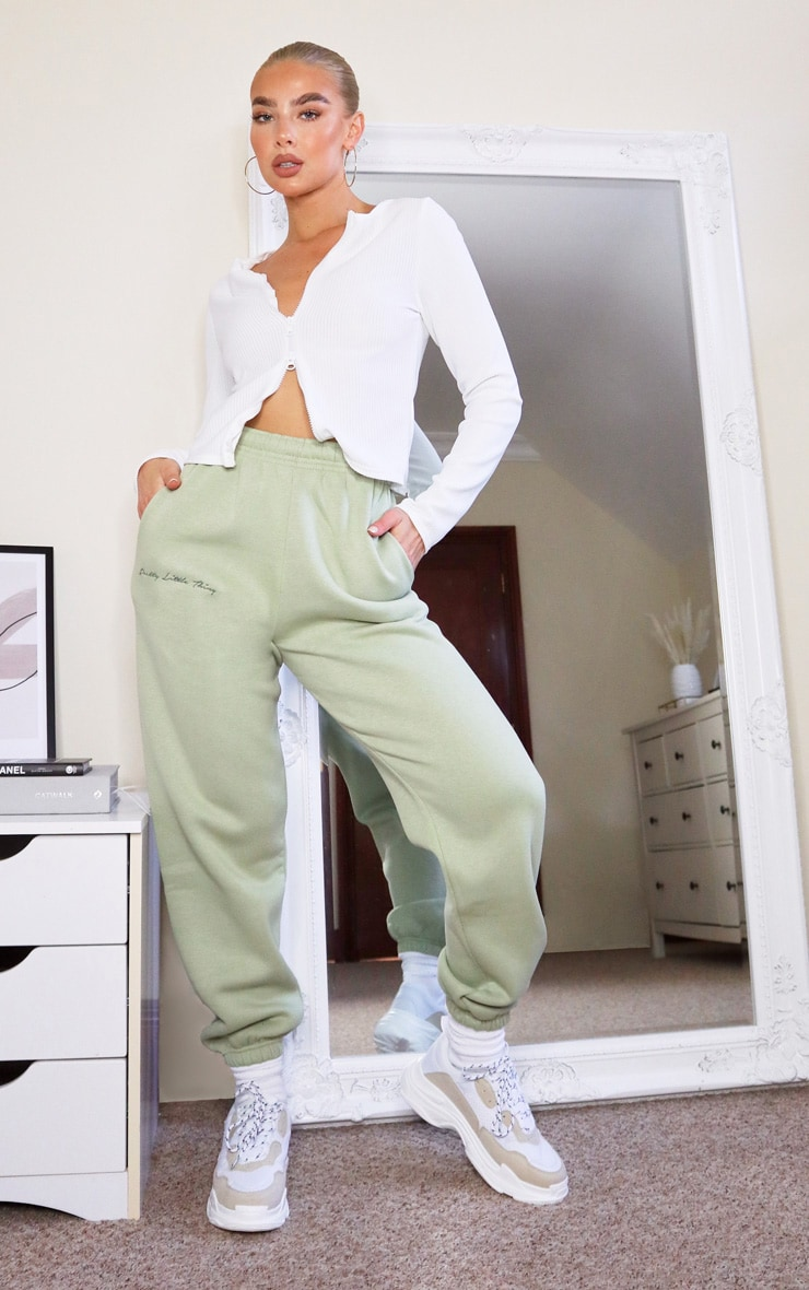 PRETTYLITTLETHING Sage Embroidered Track Pants