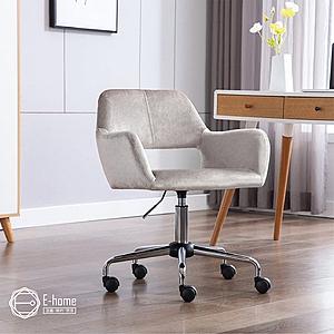 E-home Pepa佩帕時尚中背扶手絨布電腦椅-三色可選灰色