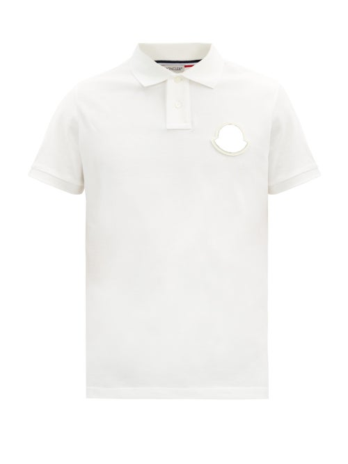 Moncler - Logo-appliqué Cotton-piqué Polo Shirt - Mens - White