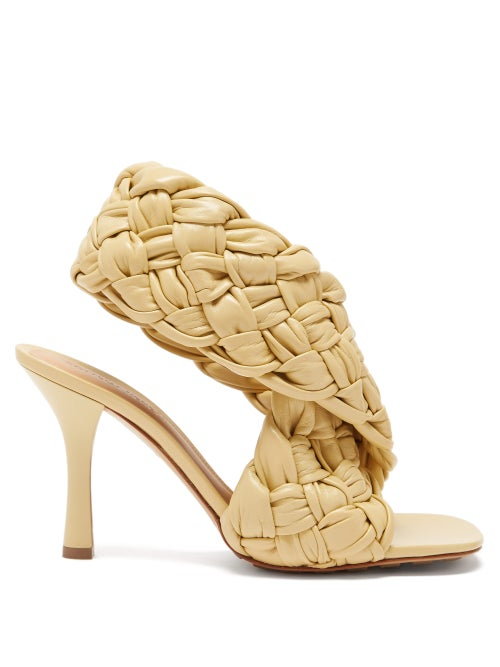 Bottega Veneta - The Board Intrecciato Leather Sandals - Womens - Cream
