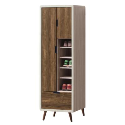 綠活居 凱琳 現代2尺雙色二門單抽高鞋櫃/玄關櫃-59x39.5x182cm免組