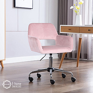 E-home Pepa佩帕時尚中背扶手絨布電腦椅-三色可選粉紅色