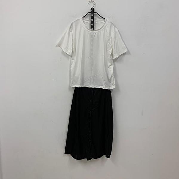 韓版素色上衣 純色長裙兩件式套裝短袖洋裝(XL號/121-7252)