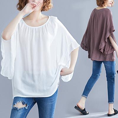 快速出貨 大尺碼棉衫/T恤V領T恤素色T恤 蝙蝠袖寬鬆顯瘦上衣舒適棉麻純色T恤