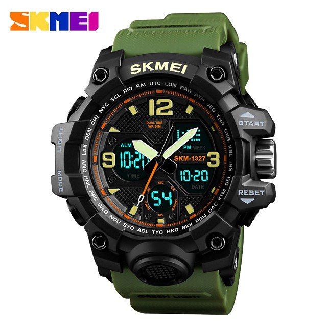 時刻美 SKMEI 1327 時尚男士大錶盤防水電子手錶 多功能戶外運動 男學生腕錶雙顯示日曆運動休閒 防水手錶 鬧鐘