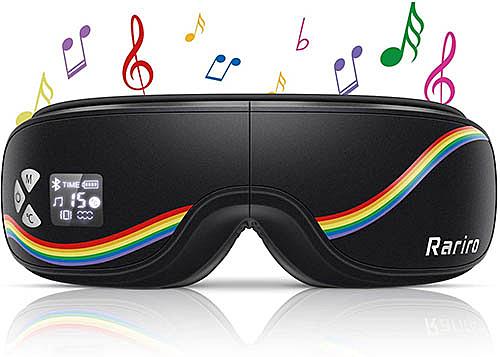 Rariro【日本代購】眼部保暖器 眼部按摩器 多頻振動 無線音樂USB充電-黑