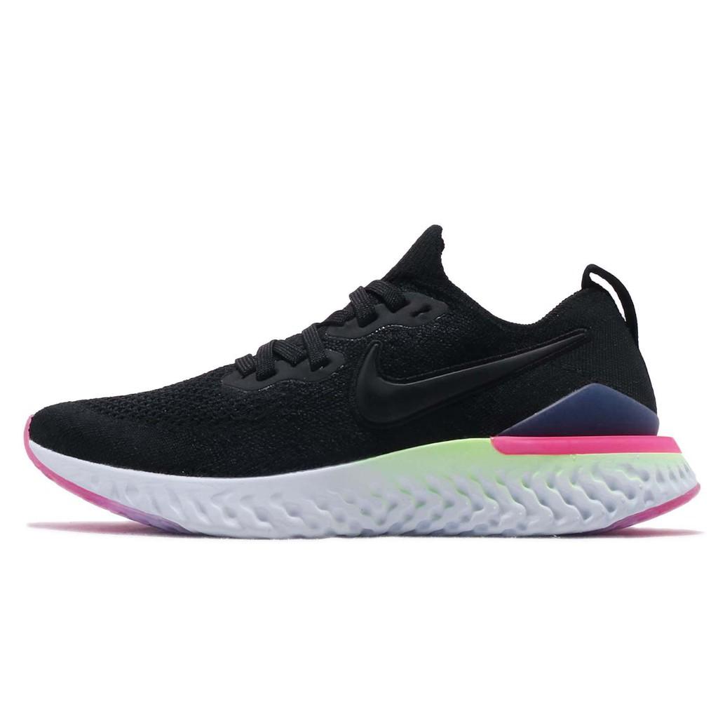 Nike 慢跑鞋 Epic React Flyknit 黑 藍 桃紅 發泡材質 女鞋 BQ8927-003 【ACS】