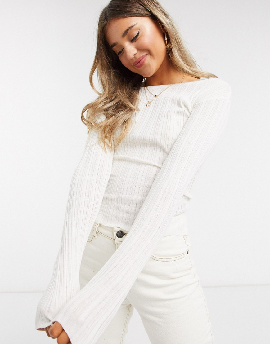 ASOS DESIGN crew neck ribbed jumper in cream