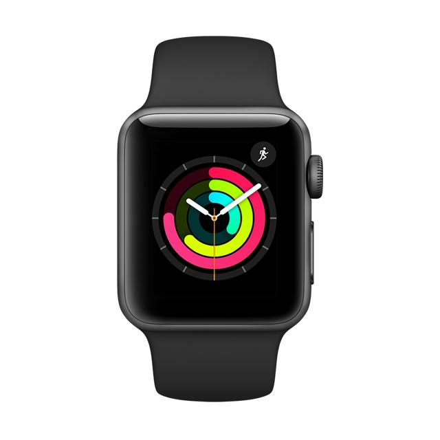Apple Watch Series 3 42公釐太空灰色鋁金屬錶殼搭配黑色運動型錶帶