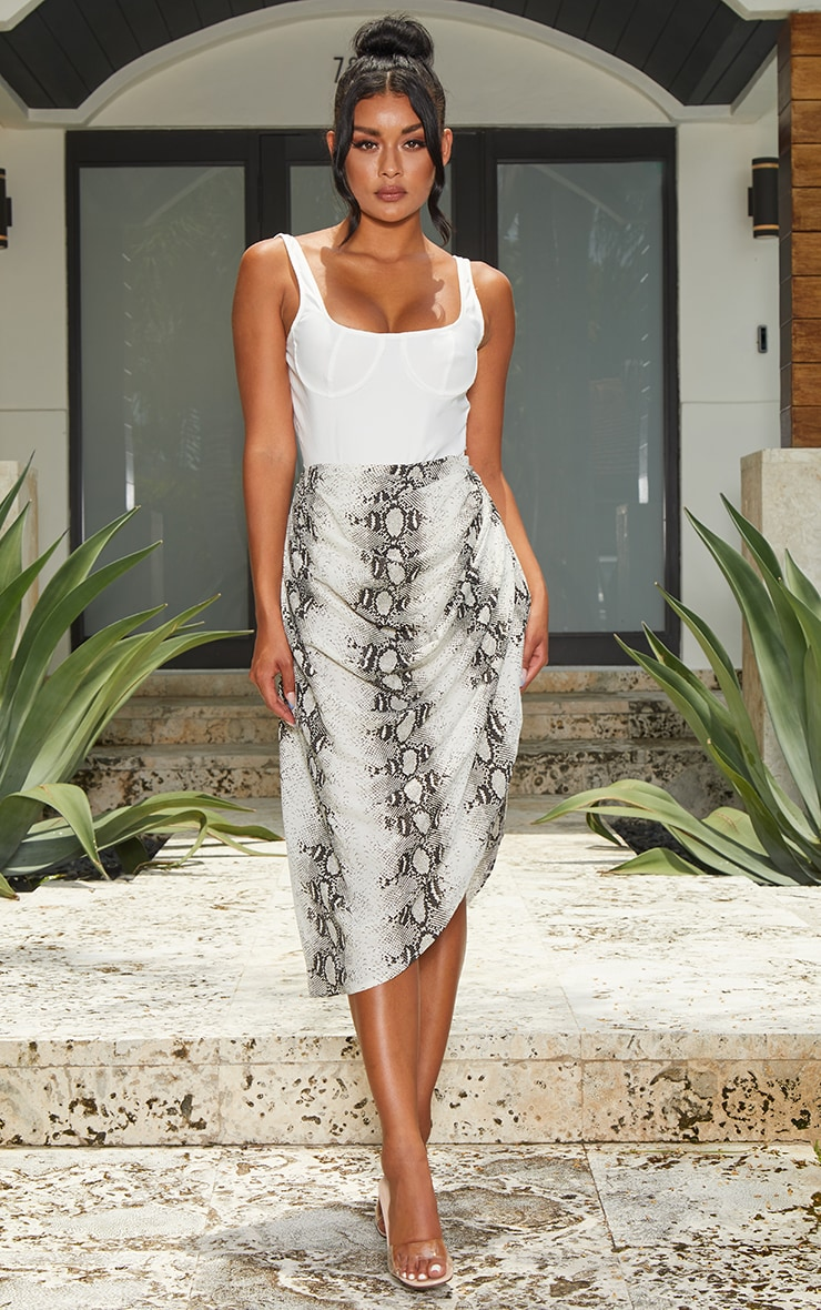 Grey Snake Ruched Side Midi Skirt