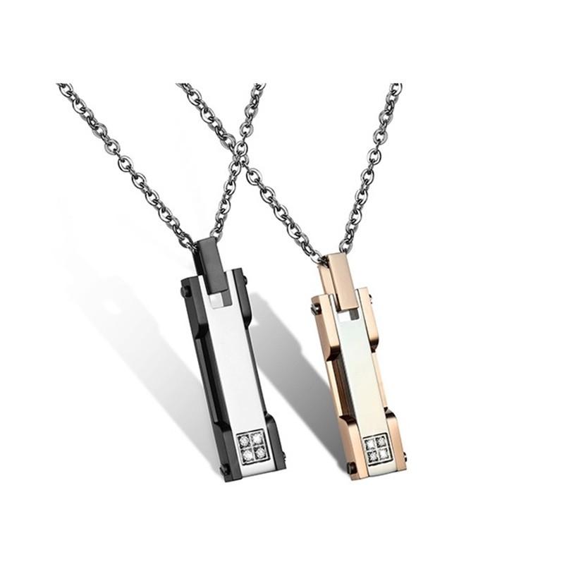 316小舖e477(優質鈦鋼情侶項鏈-天真美鑽情侶對鍊-單件/白鋼項鏈/西德鋼項鏈/女士項鏈/男