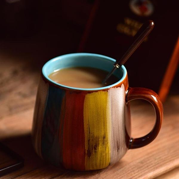 馬克杯 御品工匠 手繪馬克杯大容量喝水早餐牛奶杯子陶瓷燕麥杯帶蓋帶勺 維多原創