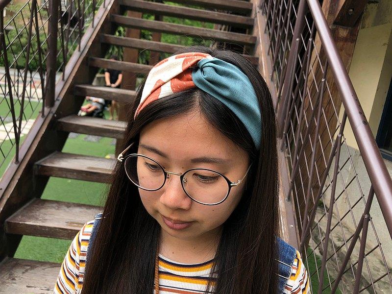 雙拼髮帶 / 草莓粉 - 湖水藍