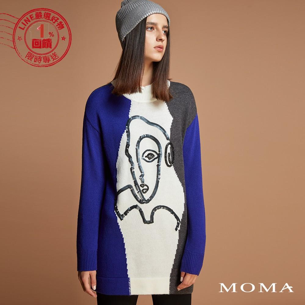MOMA(92KM62)抽象人臉長版上衣