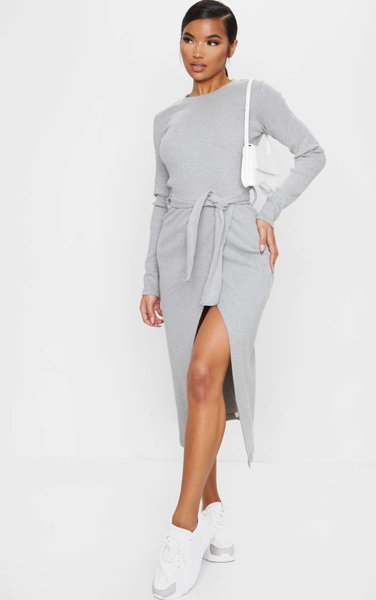 Grey Heavy Rib Tie Waist Wrap Midi Dress