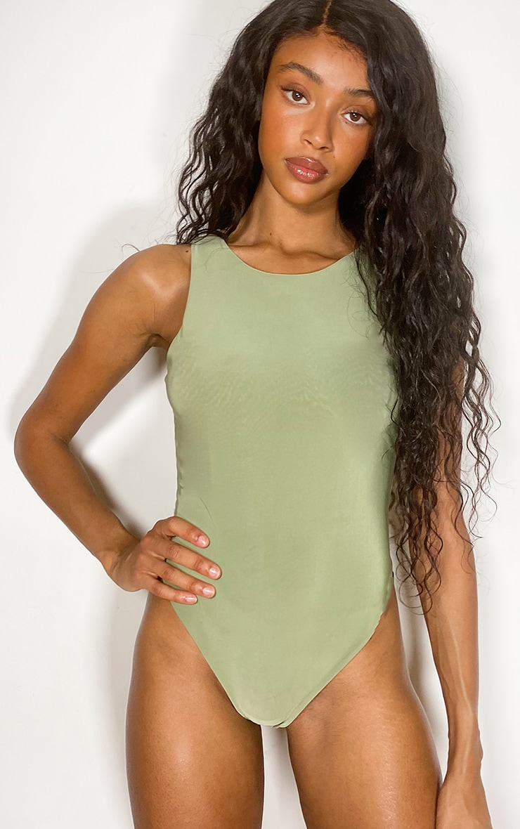Sage Green Slinky Racer Sleeveless Bodysuit