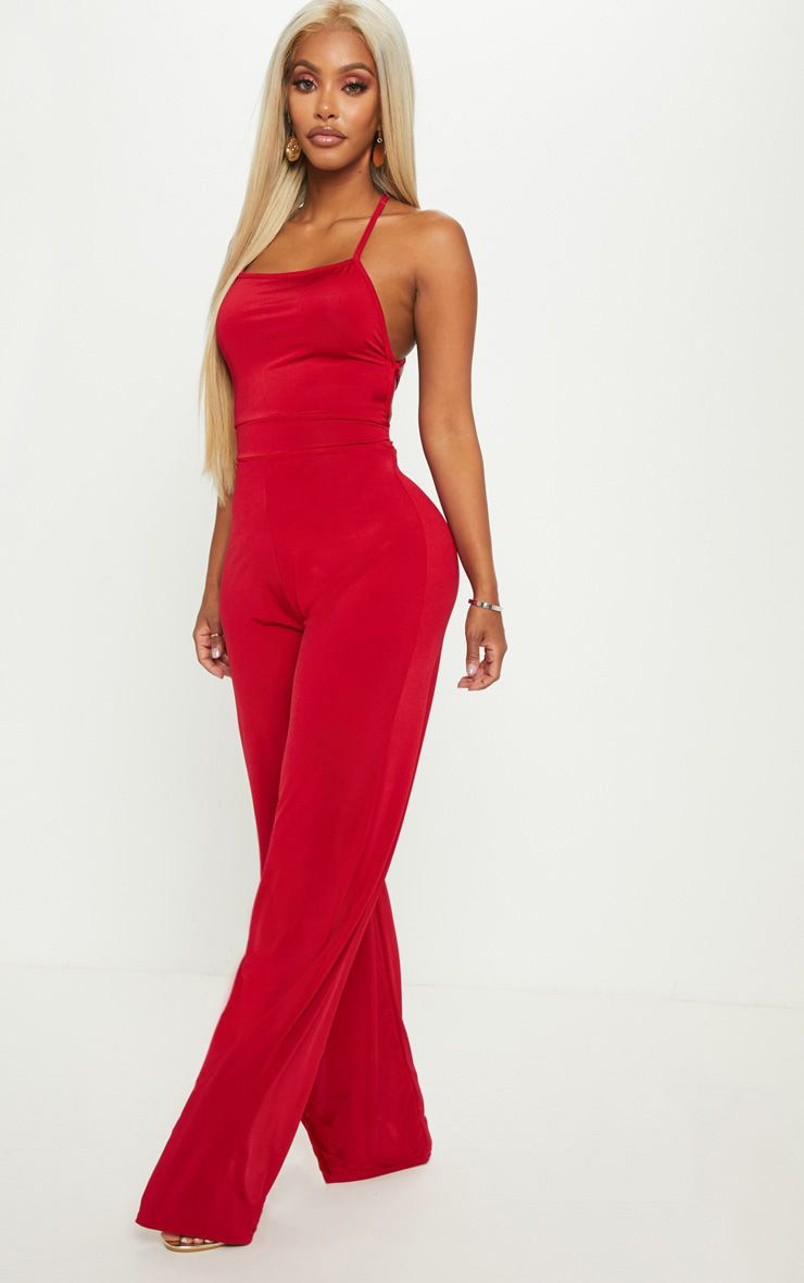 Shape Red Slinky Strappy Back Wide Leg Jumpsuit