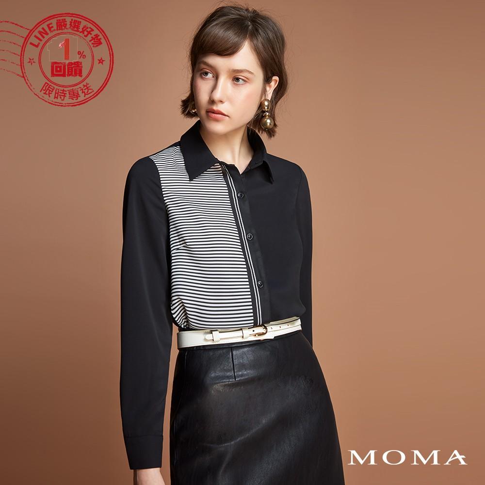 MOMA(92B013)1/2線條拼接襯衫