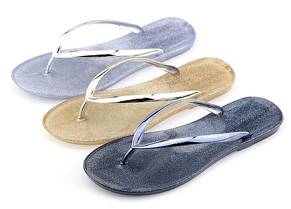 夏季時尚平跟厚底果凍水晶人字拖鞋女夏休閑沙灘流行平底涼拖