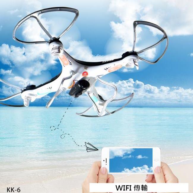 WIFI 空拍機 氣壓定高 KK6航拍機 飛行器 一鍵啟航/降落 四軸 200萬鏡頭【塔克】