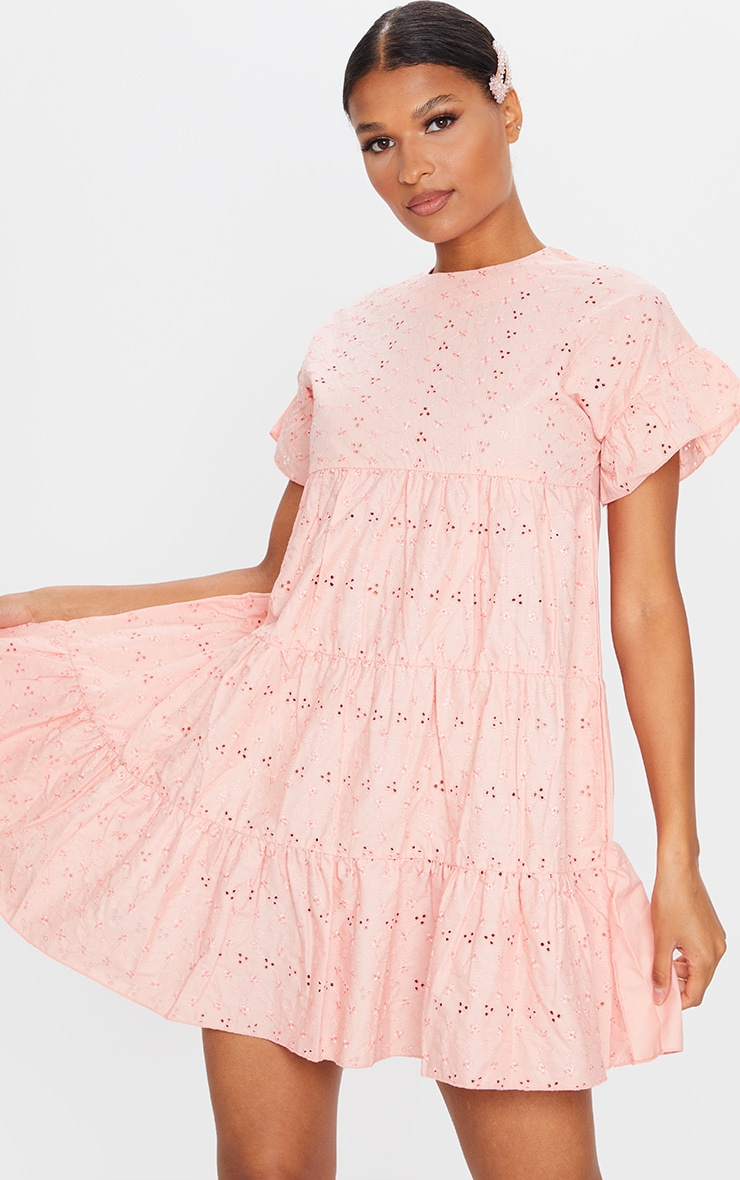 Peach Broderie Anglaise Smock Dress