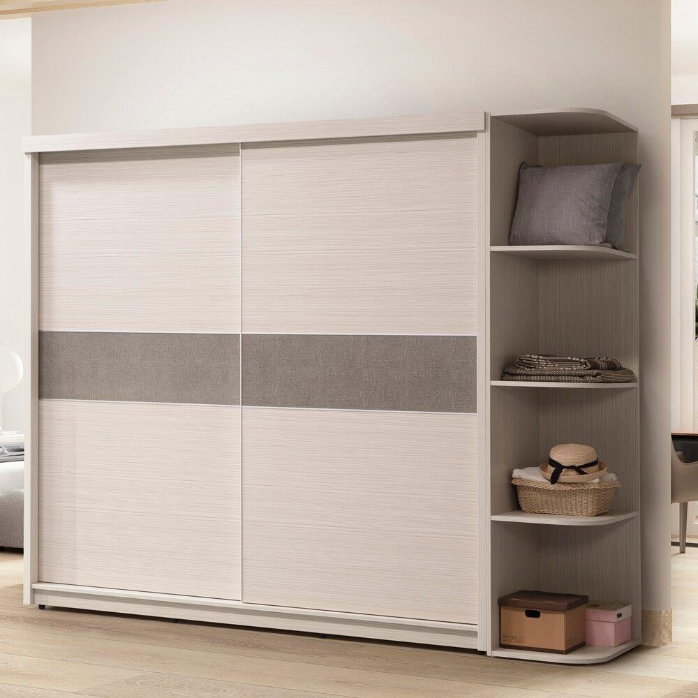 【日本直人木業】TIFFANY白雪杉收納收納252CM滑門標準衣櫃
