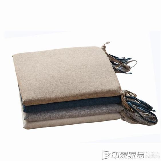 棉麻坐墊地板日式榻榻米海綿家用中式餐桌椅墊軟綁帶方形屁墊四季