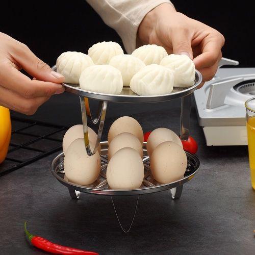 ❤戀家-居家生活館 不銹鋼 蒸蛋架子 蒸籠 蒸格 隔水蒸 廚房蒸架 菜架子 可疊加家用 雞蛋蒸屜