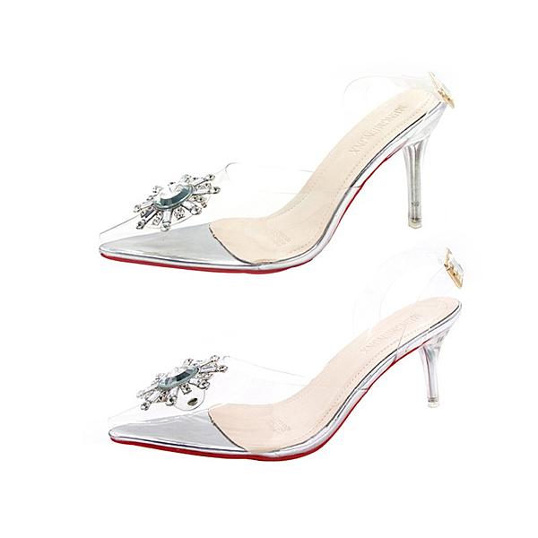 【Taroko】冰晶仙女透明水鑽尖頭細高跟鞋(白色各2種跟高可選)