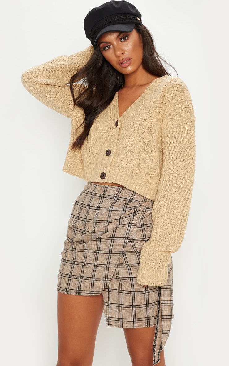 Camel Cable Cropped Cardigan