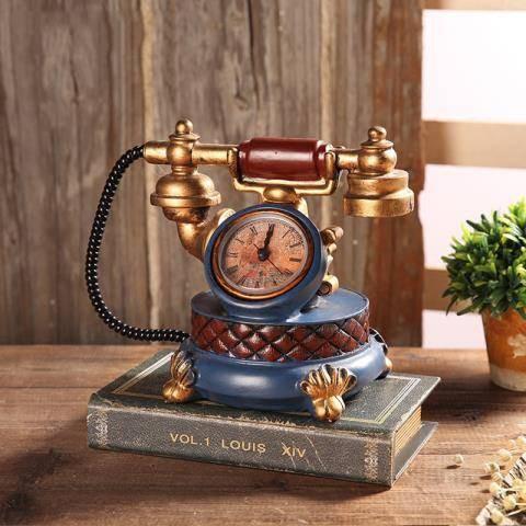 清仓甩賣-美式復古電話機小擺設 酒柜創意房間歐式客廳臥室家居裝飾品擺件