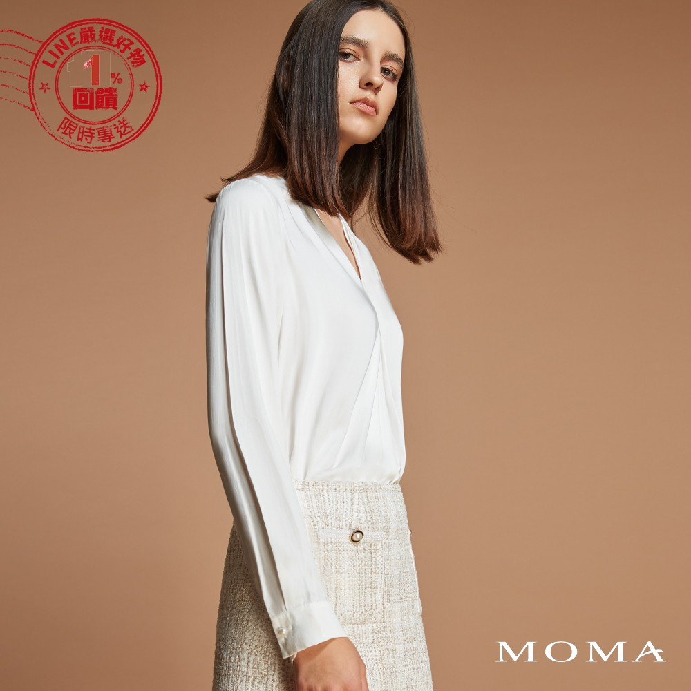 MOMA(92G076)知性壓褶V領上衣