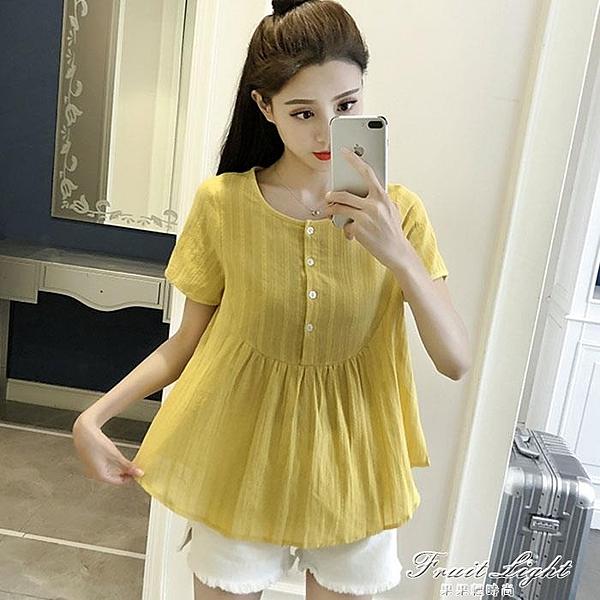 大碼娃娃衫短袖T恤女夏季新款韓版a字高腰襯衫女裝棉麻寬鬆襯衫女 果果新品