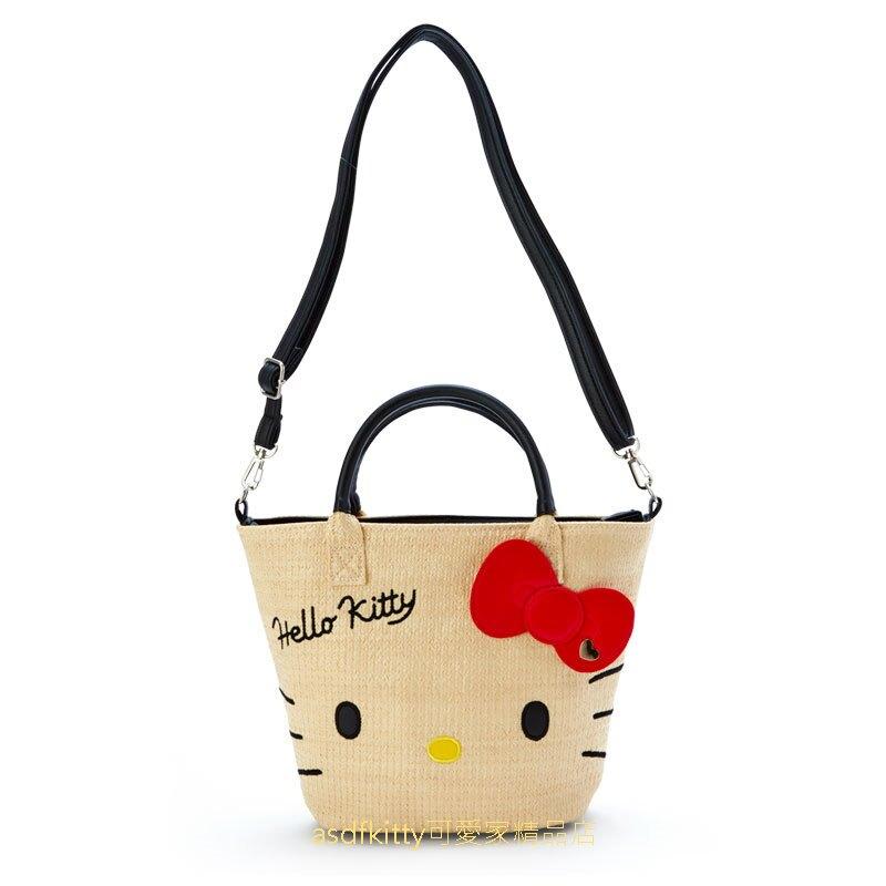 asdfkitty*KITTY大臉編織風2用斜背包/手提袋/側背包-日本正版商品