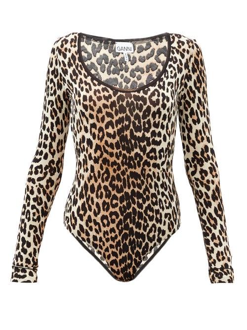 Ganni - Long-sleeved Leopard-print Jersey Bodysuit - Womens - Leopard