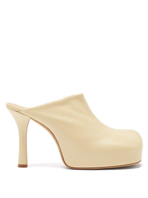 Bottega Veneta - The Bold Square-toe Leather Platform Mules - Womens - Cream