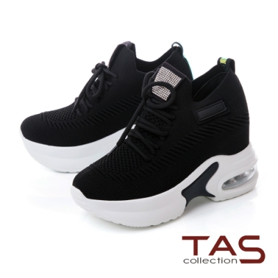 TAS彈力透氣內增高綁帶老爹鞋-率性黑