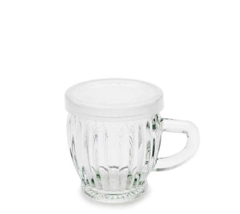 附蓋 140cc 玻璃小啤酒杯 小飲料杯 果醬瓶 耐烤布丁杯 玻璃瓶 瓶瓶罐罐 把手玻璃瓶t057