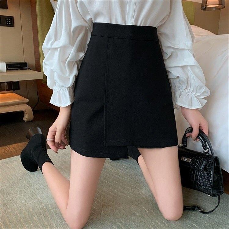 夯貨折扣!短裙 2020春夏新款不規則半身裙女大碼胖MM黑色短裙高腰短款包臀A字裙