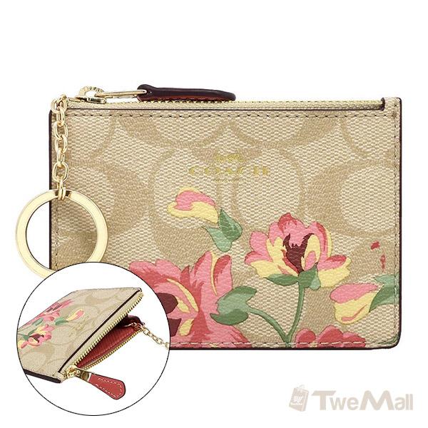 COACH 新款防刮皮革鑰匙圈零錢包(卡其/花卉)
