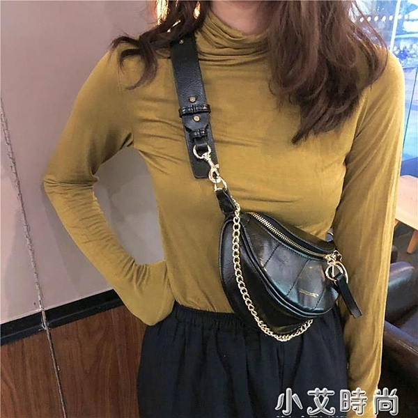 2020網紅新款褶皺腰包小香風菱格包圓環飾手提單肩包斜挎胸包包女 怦然心動