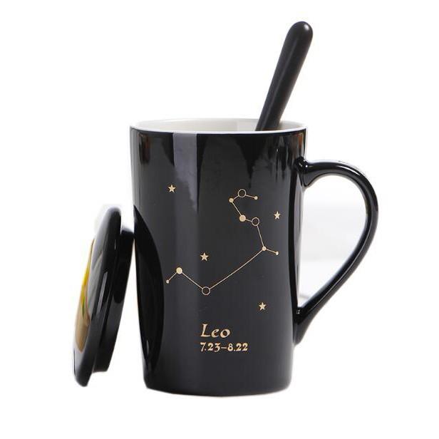 創意個性杯子 陶瓷杯 帶蓋勺潮流情侶喝水杯 家用咖啡杯 男女茶杯