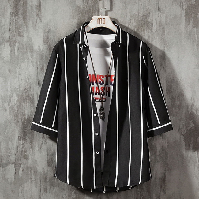 FOFU-短袖襯衫韓版百搭條紋寬鬆條紋短袖襯衫【08B-C0167】