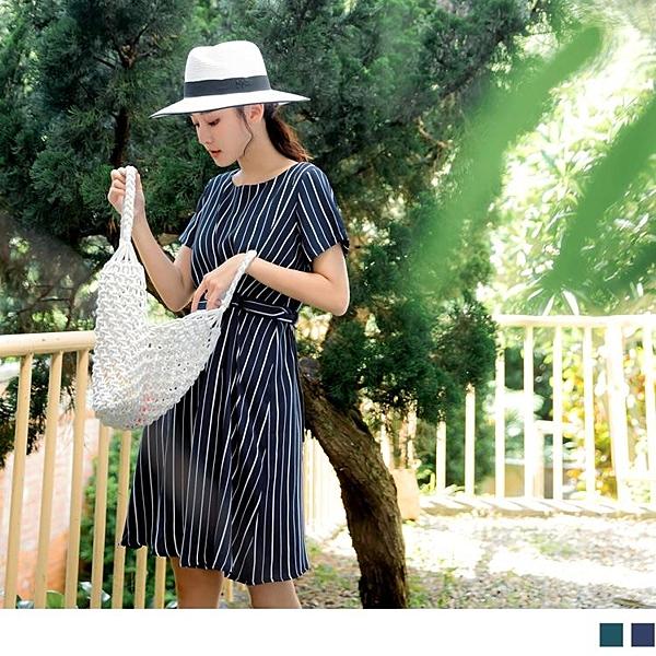 《DA7736-》質感條紋設計款綁帶洋裝 OB嚴選
