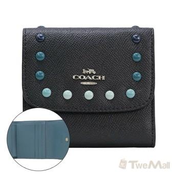 COACH 防刮皮革鉚釘三折包/短夾/零錢包(深藍)