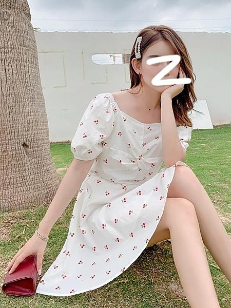 性感洋裝 氣質洋裝女神范性感中長款2020夏季新款碎花泡泡袖a字洋裝子 果果生活館